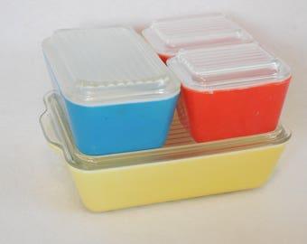 Pyrex Primary Colors Fridgie Set, Refrigerator Storage Set