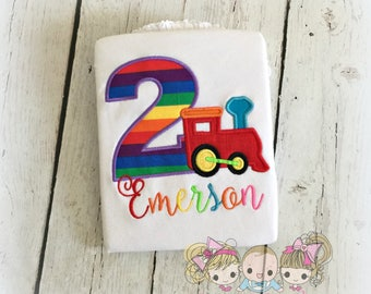 Train birthday shirt - rainbow train birthday shirt - girls train birthday shirt - 1st birthday shirt - personalized shirt - train theme
