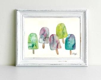 Watercolor Popsicles, Original Painting, 9x12, summer decor, treat, popsicle painting, kitchen decor, foodie gift, kitchen art, fine art