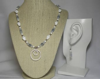 Necklace and Earrings: Blue, White, and Silver Beaded Necklace with Swarovski Pendant with Matching Earrings