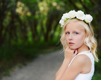 Ivory floral flower girl or bridesmaid headband floral headband flower headband