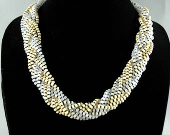 White and black thick braided necklace