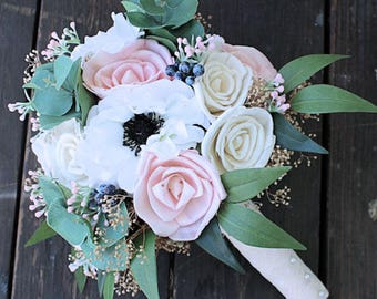 Keepsake Bridal Bouquet - Silk Flowers, Anemone, Rose Sola Flowers, Eucalyptus, Wedding Flowers, Faux Flowers, Blush