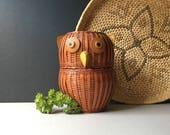 Vintage Wicker Owl Basket, Two Piece Owl Basket, Vintage Wicker Owl, Storage Box, Stash Box, Mid Century Home, Lidded Basket, Trinket Box