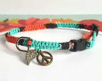 Bohemian Pet Collar, Boho Pet Collar, Hippie Collar, Square Knot Hemp Cat Collar, Tiny Dog, Puppy, Kitten, Adjustable, Colorful Hemp Collar