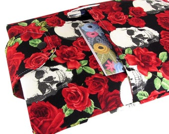 Skull Book Sleeve - Front Pocket, Two Sizes: Paperback & Hardback - Makes A Great Book Cover For Yourself Or Book Lover Gift!