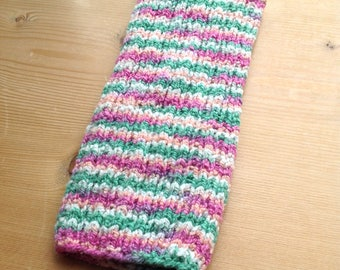 S PICC Line / IV Cover (Armband) pink, green, white, stripes, machine wash, intravenous, chemo, tpn, hand knit, cotton, elastic, soft