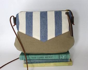 Nantucket. Crossbody purse - Summer purse - Small canvas bag - Travel purse - Cross over- Every day purse- Herringbone- Tan-Ready to ship
