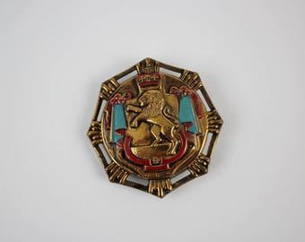 Vintage Lion Crown Coat of Arms Heraldic Brooch Pin - Brass Enamel Lion Crest Shield - Heraldic Coat of Arms Pinback
