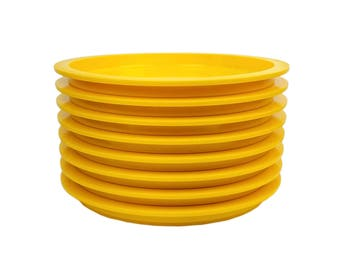 8 Dansk Gunnar Cyren Yellow Plastic Lunch Plates // Set of Eight Vintage 70s Mod Picnic Stackable, Unbreakable, Melamine Melmac Dinnerware