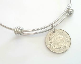 Colombian Coin Adjustable Stainless Steel Adjustable Bangle