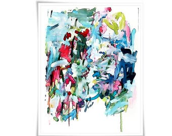 Large Original Abstract Art pretty vancouver artist melissa thorpe canadian office bright colourful colorful blue pink red painting