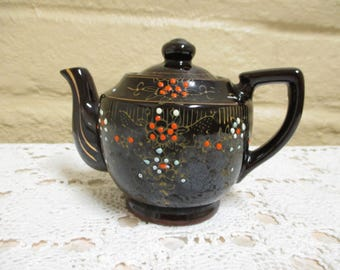 Vintage Ceramic Teapot - Single Serving Teapot - Japanese Redware Teapot