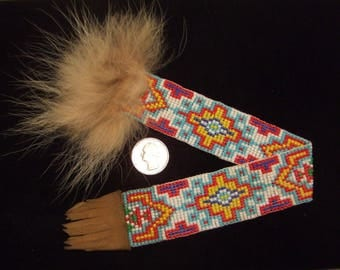 Book Mark beaded fur leather glass beads (free shipping)
