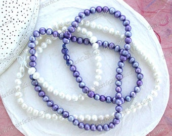 2 Strands Sale Beads, Destash Beads, Lilac Purple Cream White Fresh Water Pearl Beads, Potato Fresh Water Pearls, Destash Supplies DS-916