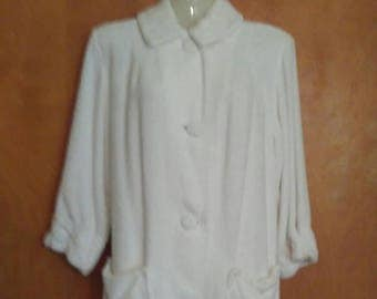 Vintage 1950s white terry cloth swimsuit cover up with large covered buttons