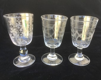 3 antique glasses, 19th, french vintage Engraved glass with foliage