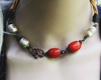 African orange resin and Ethiopian silver bead choker necklace | tribal  beads, choker necklace, African amber, short boho necklace