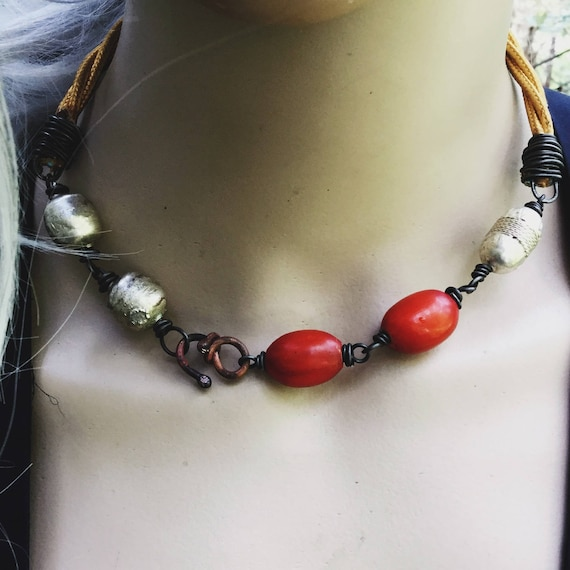 African orange resin and Ethiopian silver bead choker necklace with twisted vintage style chord