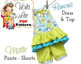 Ramona Girls Summer Halter Top PDF Pattern AND Shorts Pattern. Girls Dress pdf Sewing Pattern. Toddler Dress Pattern. Girls Shorts Download