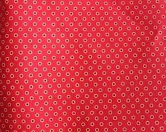Shweshwe Fabric, Red Shweshwe, Fabric Printed in South Africa, Three Cats Shweshwe Fabric, Circled Dots