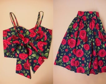 Crop Top and Skirt Set Navy with Red Rose Beauty and The Beast Rose Summer Matching Crop Top and skirt Set -S-M (US4-US6)