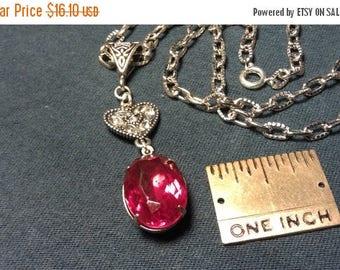 On Sale at Etsy Necklace, Vintage 18x13mm Ruby Red Rhinestone Crystal, Crystal Heart Connector, Celtic Design Large Hole Bail, 20in Silver M