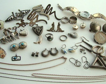 Vintage & Antique Sterling Jewelry Coins  Lot