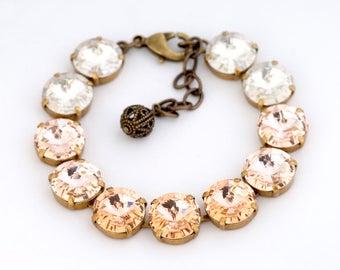 Peach Swarovski Crystal Bracelet, Peach Wedding Bracelet, Swarovski Bridal Jewelry, Swarovski Wedding Bracelet, Crystal Jewelry Glass, Ghila