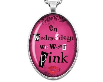Mean Girls On Wednesdays we wear pink! Burn Book Retro Vintage High School Girl Movie Fandom Jewellery Handmade Bronze Silver Cameo Necklace
