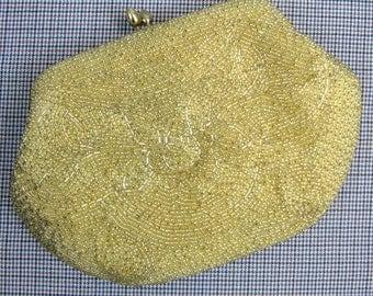 Vintage 1950s Beaded Clutch 50s Small Gold Beaded Evening Bag by Bon Soir