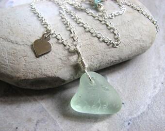 Sea Glass Heart Necklace, Sterling Silver Seaglass Jewelry, Seafoam Blue/Green Heart Pendant on 18 Inch Chain, Ocean Beach Jewelry