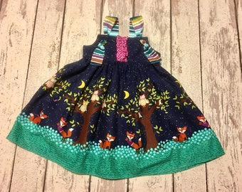 fox and owl dress, girls knot dress, girls fall dress, fox dress, owl dress, baby fall dress, owl party dress, fox party dress, fall party
