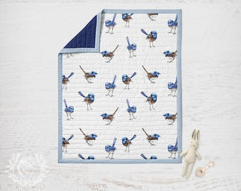 Cot Quilt Blue Wrens, Quilted Rectangle Kids Quilt in Organic Cotton Sateen/ Made to Order/ Ships in 4-6 weeks
