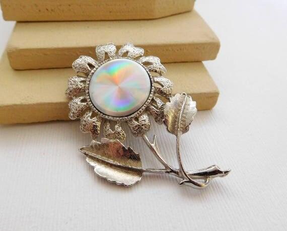 Vintage Jewelarama Silver Tone Hologram Daisy Flower Brooch Pin B49