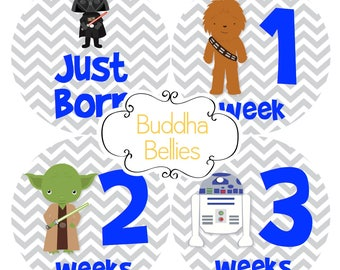 BUNDLE PACK Star Wars Baby Boy Month Stickers Monthly Baby Stickers Chewbacca Baby - R2D2 Baby - Baby Decals - Space Wars - Darth Vader Baby
