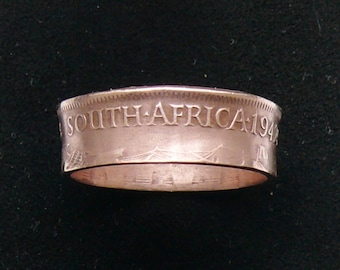 1942 South Africa Half Penny Coin Ring, Ring Size 9 and Double Sided