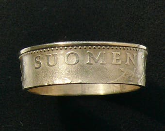 Bronze Coin Ring 1977 Finland 50 Pennia, Ring Size 10 and Double Sided