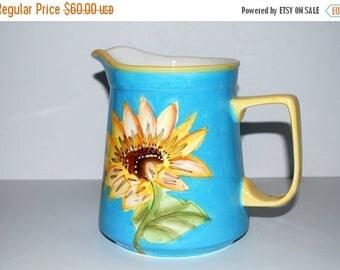 weekend sale Vintage sunflower pitcher