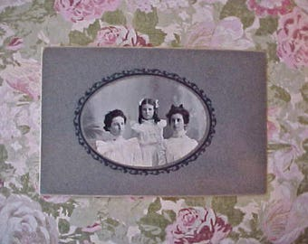 Darling Victorian Era Photograph of 3 Charming Girls in Their Beautiful White Dresses