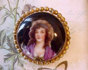 Gorgeous Antique Hand Painted Czech Portrait Brooch with Beautiful Lady