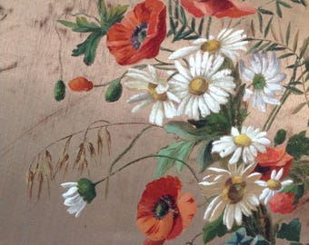 Vintage French flower silk painting  30s  hand painted daisy and poppy