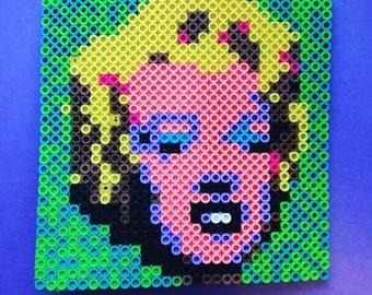 Andy Warhol / Marilyn Monroe Perler Bead sprite / magnet / fuse beads / hama beads / fine art / Pixel art