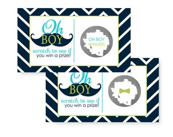 Mustache Scratch Off Game Set of 25 - Baby Shower Activity - Navy Chevron & Aqua - Birthday Party - Diaper Raffle Prize
