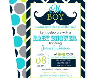 Little Man Baby Shower Invitation Mustache - Navy Chevron & Aqua - Dapper Party - Boys Sprinkle - Bow Tie Invites  - Printable and Printing