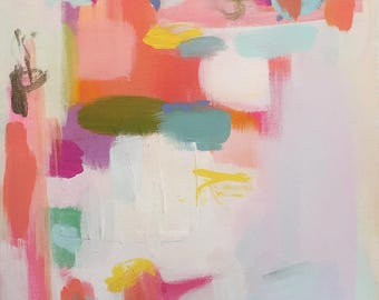 "Art Abstract Original Painting 48 X 16 Extra Large Long Susan Skelley Free Domestic Shipping Turquoise Blue Hot Pink Coral ""BOTOX BINGO"""