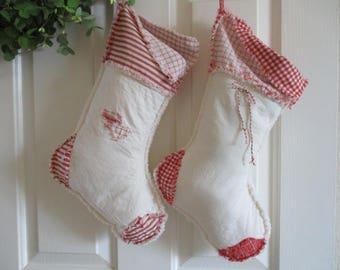 Christmas Stockings, Set of 2 Christmas Stockings,  Personalized Christmas Stockings, Red and White Christmas Stocking