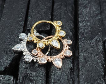 CZ diamond teardrop hoop Daith earring / Cartilage / Septum ring / Nose ring