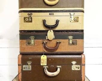 Vintage Leather Suitcase Luggage