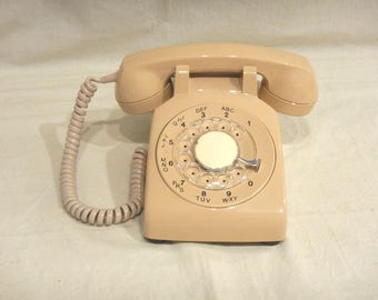 Beige Rotary Dial Desk Telephone Vintage 1980s Northern Telecom Phone Tested & Working